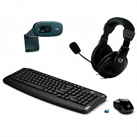Kit Home Office Video Meeting HP sem Fio – Teclado e Mouse sem Fio HP 300 + Headset C3 Tech Voicer Comfort + Webcam C270