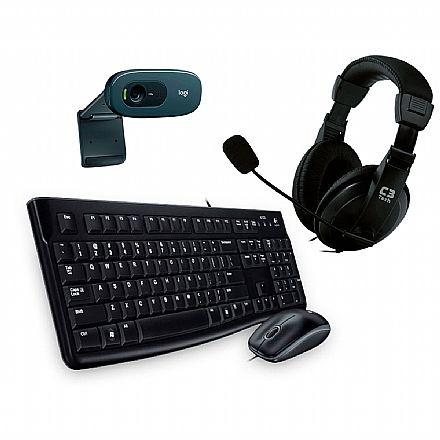 Kit Home Office Video Meeting Logitech – Teclado e Mouse MK120 + Headset C3 Tech Voicer Comfort + Webcam C270