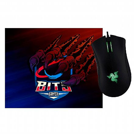 Kit Gamer Razer -  Mouse Deathadder Essential +  Mouse Pad Bits Raptor Grande