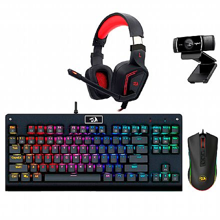 Kit Gamer Redragon - Teclado Mecânico Dark Avenger RGB + Mouse Cobra Chroma + Headset Muses 7.1 + Webcam Logitech C922 Pro