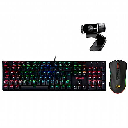 Kit Gamer Redragon - Teclado Mecânico Dark Avenger RGB + Mouse Cobra Chroma + Webcam Logitech C922 Pro