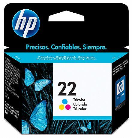 Cartucho HP 22 Colorido - C9352A - para 1415/ 1417/ 4315/ 4355/ J3680/ J5520/ 1250/ 3180/ 3910/ 3915/ 3918/ 3920/ 3930/ 3930v/ 3938/ 3940/ D1320 / D1330 / D1341 / D1360