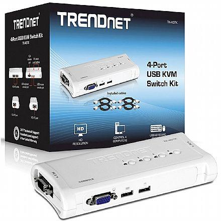 Chaveador KVM TrendNet TK-407K - 4 computadores em 1 monitor, teclado e mouse - USB - com Cabos KVM Inclusos
