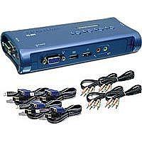 Chaveador KVM TrendNet TK-409K - 4 computadores em 1 monitor, teclado e mouse - USB - com Áudio - com Cabos KVM Inclusos