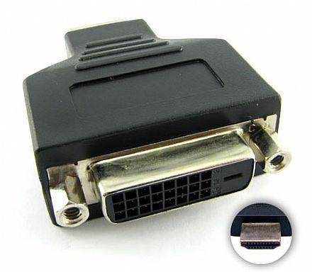 Adaptador Conversor HDMI para DVI-D - Dual Link - 24+1 Pinos (HDMI M X DVI-D F)