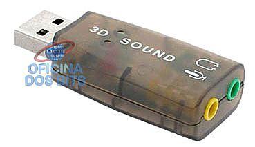 Placa de Som Externa USB - Som Virtual 5.1 e Microfone - AD0085