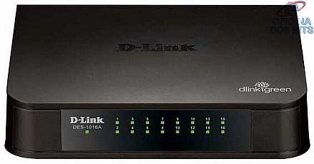 Switch 16 portas D-Link DES-1016A - 16 portas Fast Ethernet 10/100Mbps